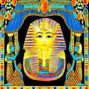 ancient egypt egyptian king tut Tutankhamun pharaoh gold cobra snakes crown Uraeus Wadjet vulture Nekhbet serpent wings scarab beetles hieroglyphs sun