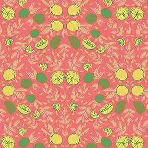citrus lemon orange seamless repeat pattern design.