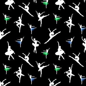 Dancing Ballerinas #3 white on black