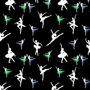 Dancing Ballerinas #2 white on black