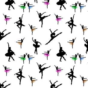 Dancing Ballerinas #7 black on white