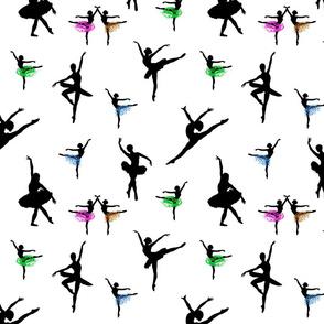 Dancing Ballerinas #8 black on white