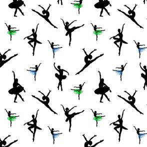 Dancing Ballerinas #6 black on white