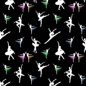 Dancing Ballerinas #8 white on black