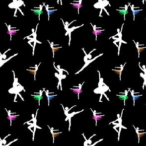 Dancing Ballerinas #7 white on black