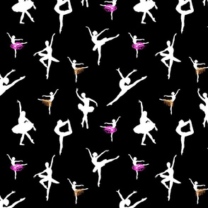Dancing Ballerinas #4 white on black