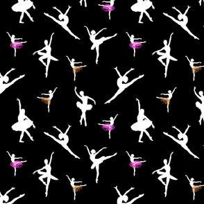 Dancing Ballerinas #6 white on black