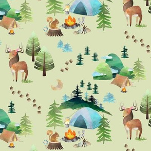 My Camping Trip (fern) – Kids Room Bedding, SMALLER scale