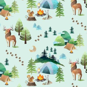 My Camping Trip (soft mint) – Kids Room Bedding, SMALLER scale