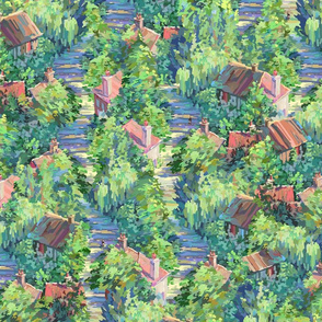 Little French Village Repeating Design