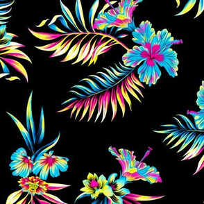 Trippy Hawaii - Black/Bright