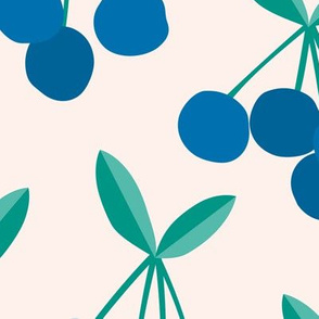 Paper cut summer cherry fruit garden cherries in blue and green mint JUMBO