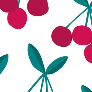 Paper cut summer cherry fruit garden cherries in maroon red green JUMBO