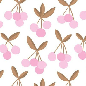 Paper cut summer cherry fruit garden cherries in brown copper pink