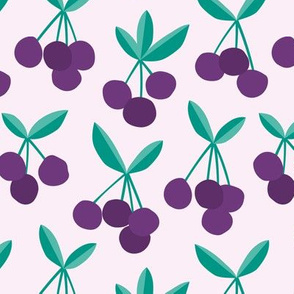 Paper cut summer cherry fruit garden cherries in purple teal green