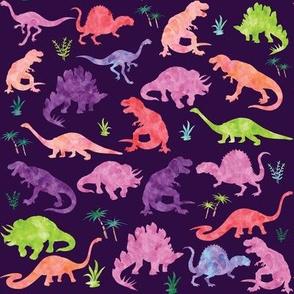 Watercolor Dinosaur Silhouette Purple - Large
