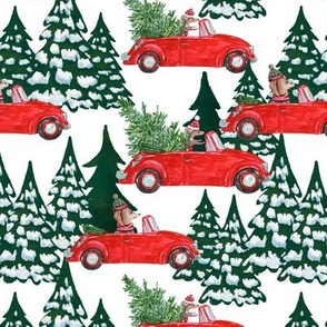 "7""  Holiday Christmas Tree Car and Dachshund in Woodland,christmas fabric,dachshund fabric"