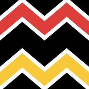 Orange Yellow Black White Chevron Pattern Large