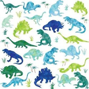 Watercolor Dinosaur Silhouette White - Large