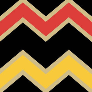 Orange Yellow Black Gold Chevron Pattern Large