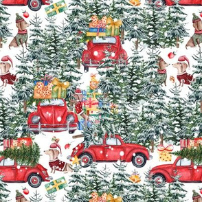"7""  Holiday Christmas Tree Car and Dachshund in Woodland,christmas fabric,dachshund fabric 1"