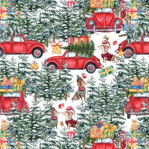 "7""  Holiday Christmas Tree Car and Dachshund in Woodland,christmas fabric,dachshund fabric 3"