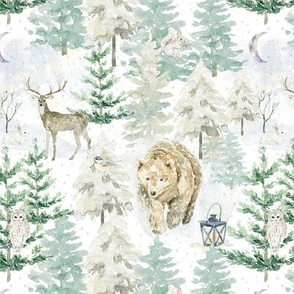 "7"" snowy winter woodland with forest animals"