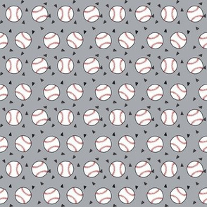 SMALL - baseball fabric // sports baseball american themed fabric - grey