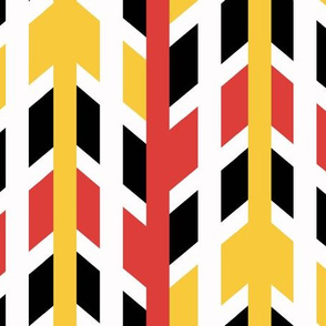 Red Yellow Orange Tribal Arrow Chevron