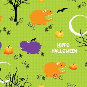 Halloween Hippo with Pumpkin