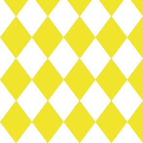 Highlighter Yellow Modern Diamond Pattern on White