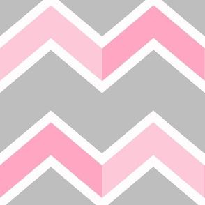 Pink Gray Grey Chevron Tile