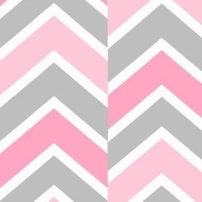 Pink Gray Grey Chevron