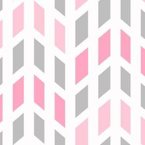 Pink Gray Grey Mosaic Chevron