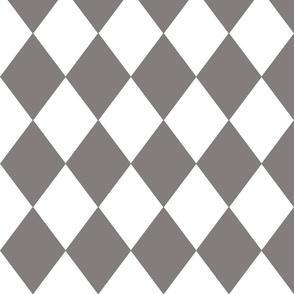 Dovecote Grey Modern Diamond Pattern on White