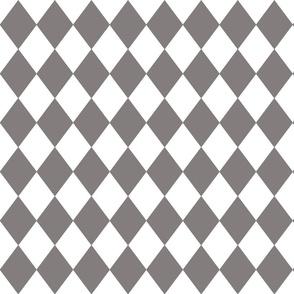 Dovecote Grey Small Modern Diamond Pattern on White