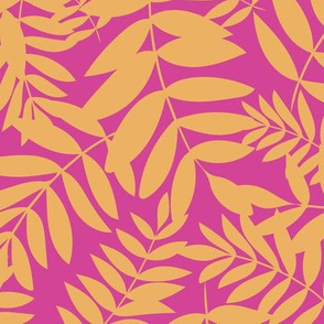 Funky Pink and Yellow Tropical Ferns