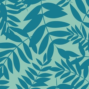 Tropical Ferns in Green and Teal