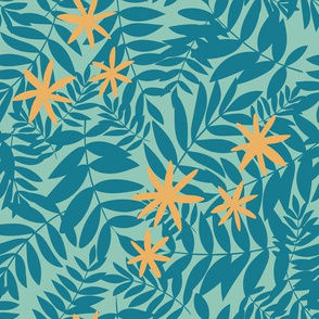 Tropical Ferns in Teal with Yellow Flowers