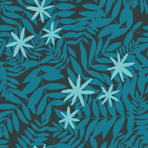 Tropical Ferns in Teal and Dark Background with Blue Flowers
