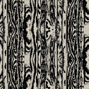 Flowing Totem #2 Black on Taupe