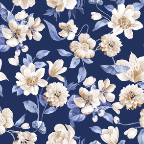 cream flowers on navy background
