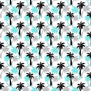 aqua palms on white 4x4