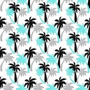 aqua palms on white 6x6