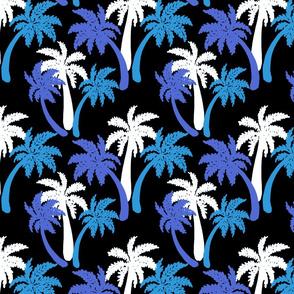 blue palms on black