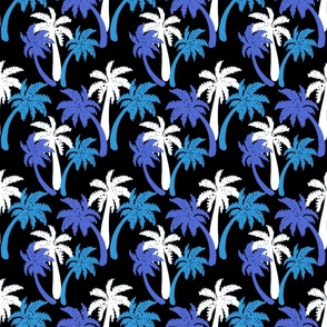 blue palms on black 6x6