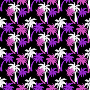 pink palms on black 6x6