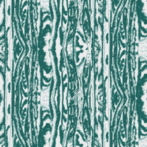 Flowing Totem #2 Teal on White
