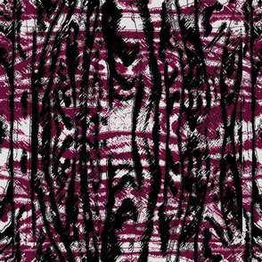 Flowing Totem #3 Black & Cranberry on Gray