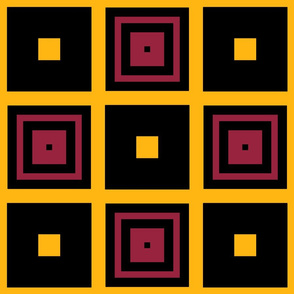 The Black the Yellow and the Red: Checker Squares
